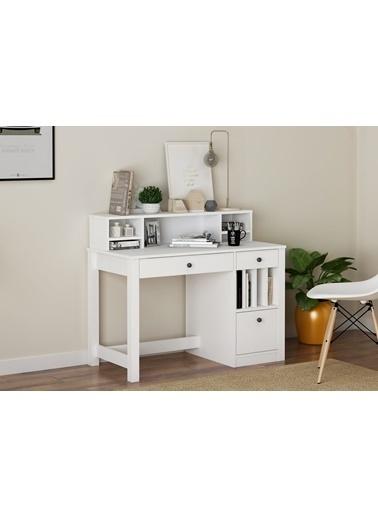 Sanal Mobilya Snop 2 Çekmeceli Raflı Raflı Kapaklı Çalışma Masası Mat Beyaz Beyaz